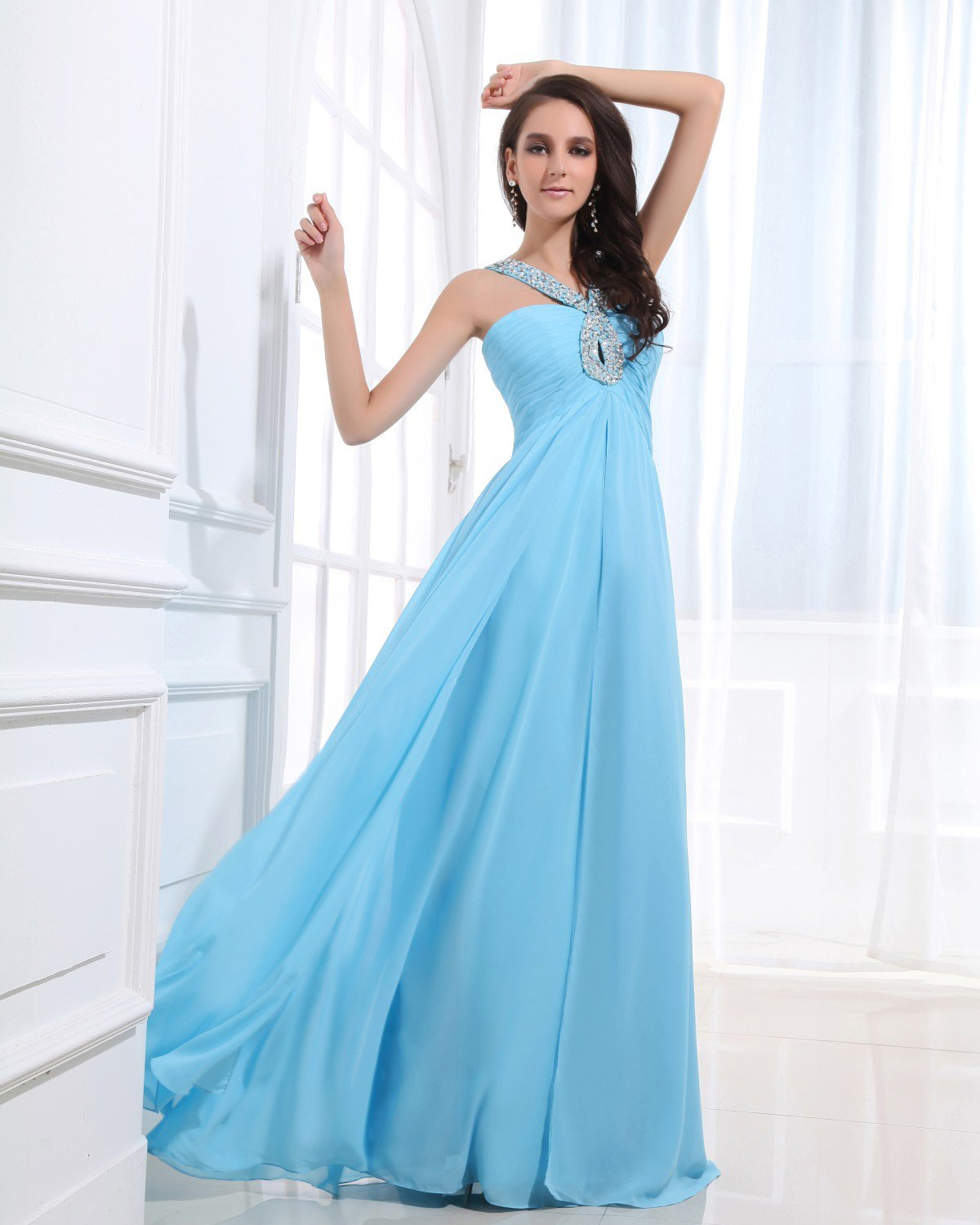 Chiffon Beading Backless Sweetheart Floor Length Prom Dresses