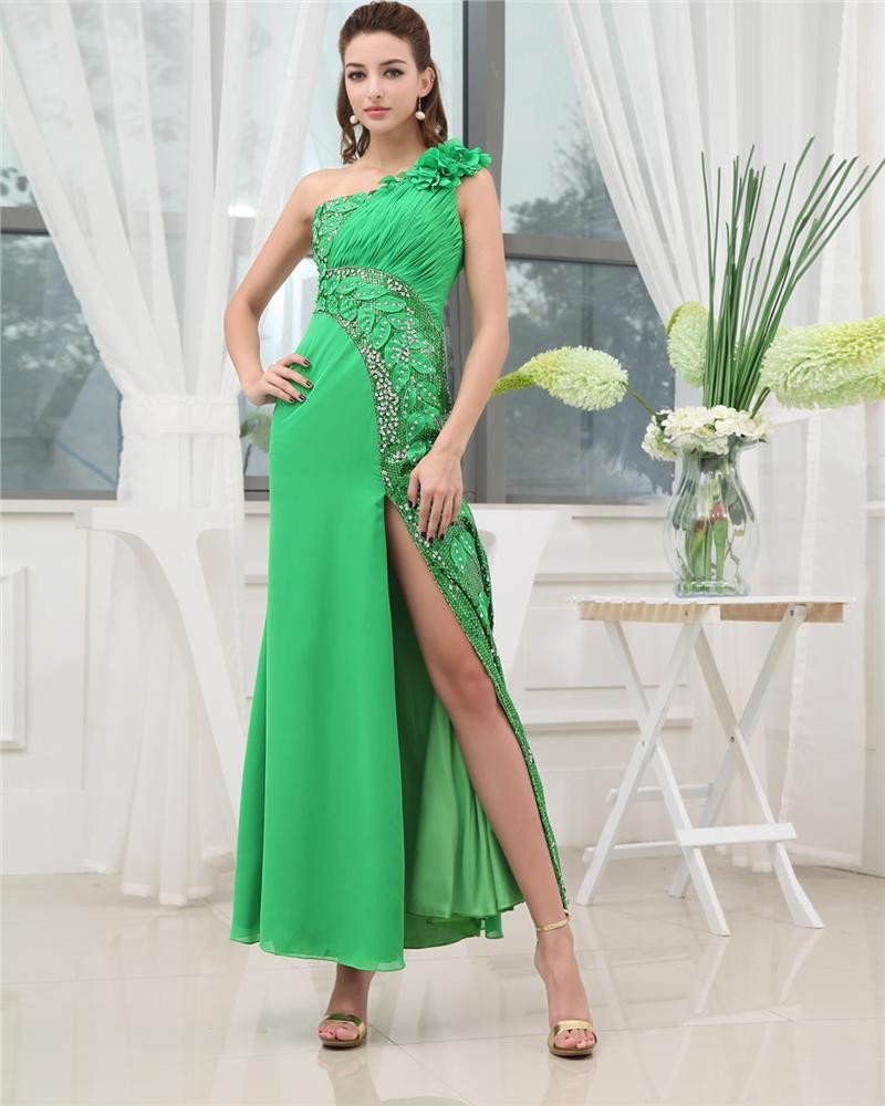 One Shoulder Sleeveless Backless Beading Pleated Ankle Length Chiffon Woman Prom Dress