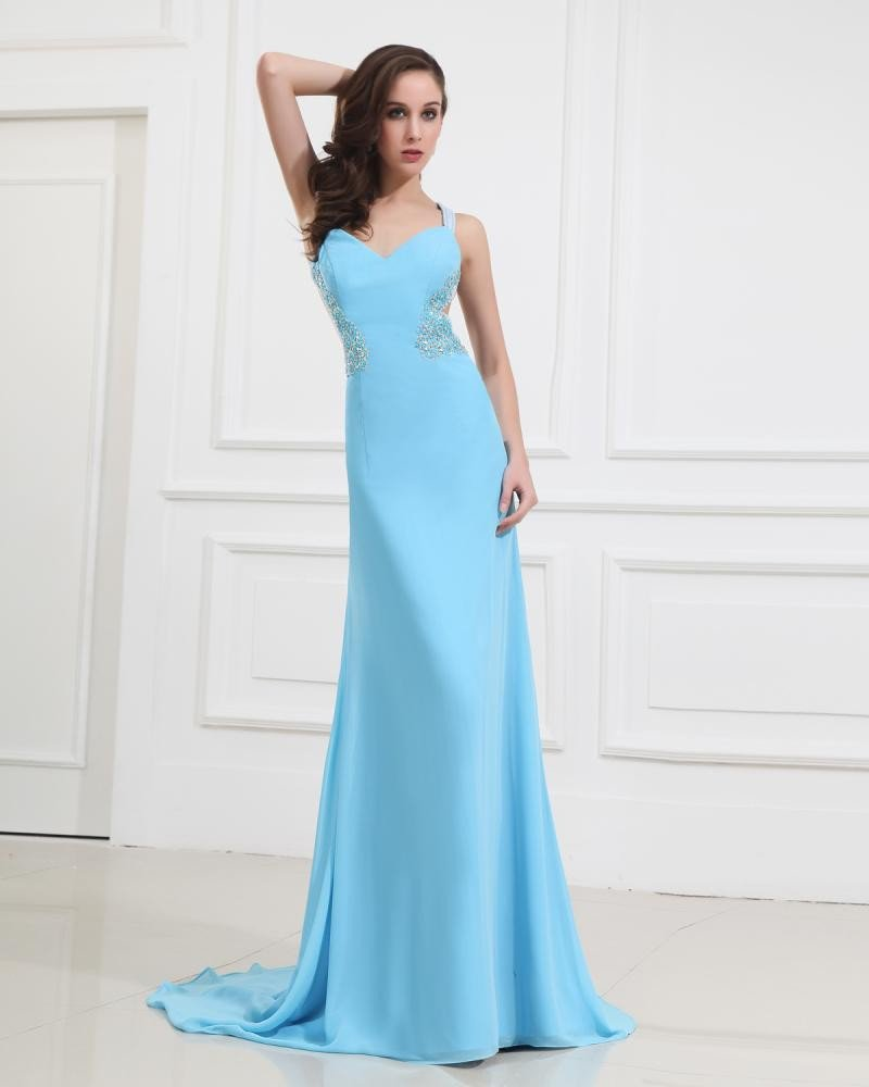 Imitated Silk Beading Ruffle V-Neck Prom Dresses
