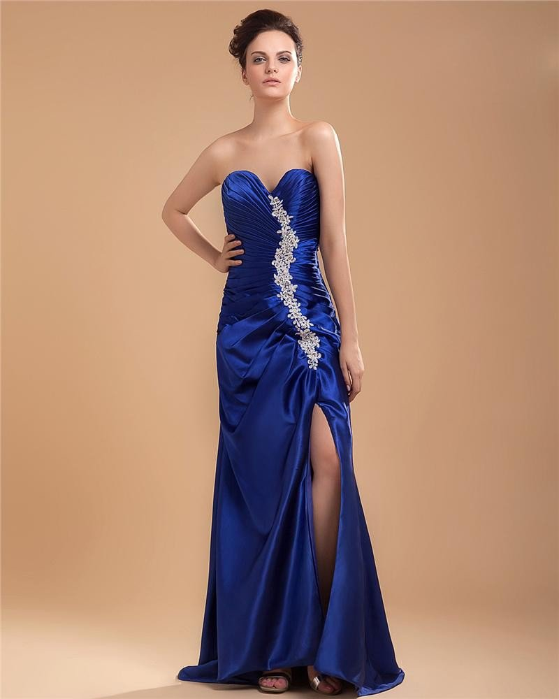 Taffeta Beading Embroidery Sleeveless Sweetheart Asymmetrical Prom Dresses