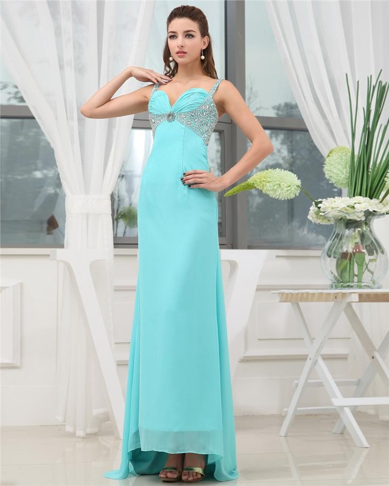 Shouder Straps Sleeveless Zipper Beading Floor Length Chiffon Woman Prom Dress