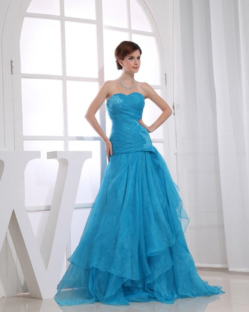 Strapless Zipper Sleeveless Applique Layered Floor Length Prom Dress Organza Charmeuse Silk Woman Pr