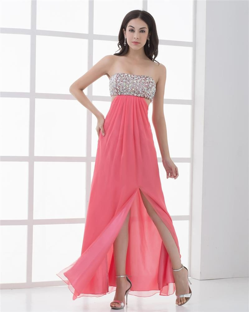 Unique Strapless Floor Length Beading Pleated Chiffon Women Prom Dress