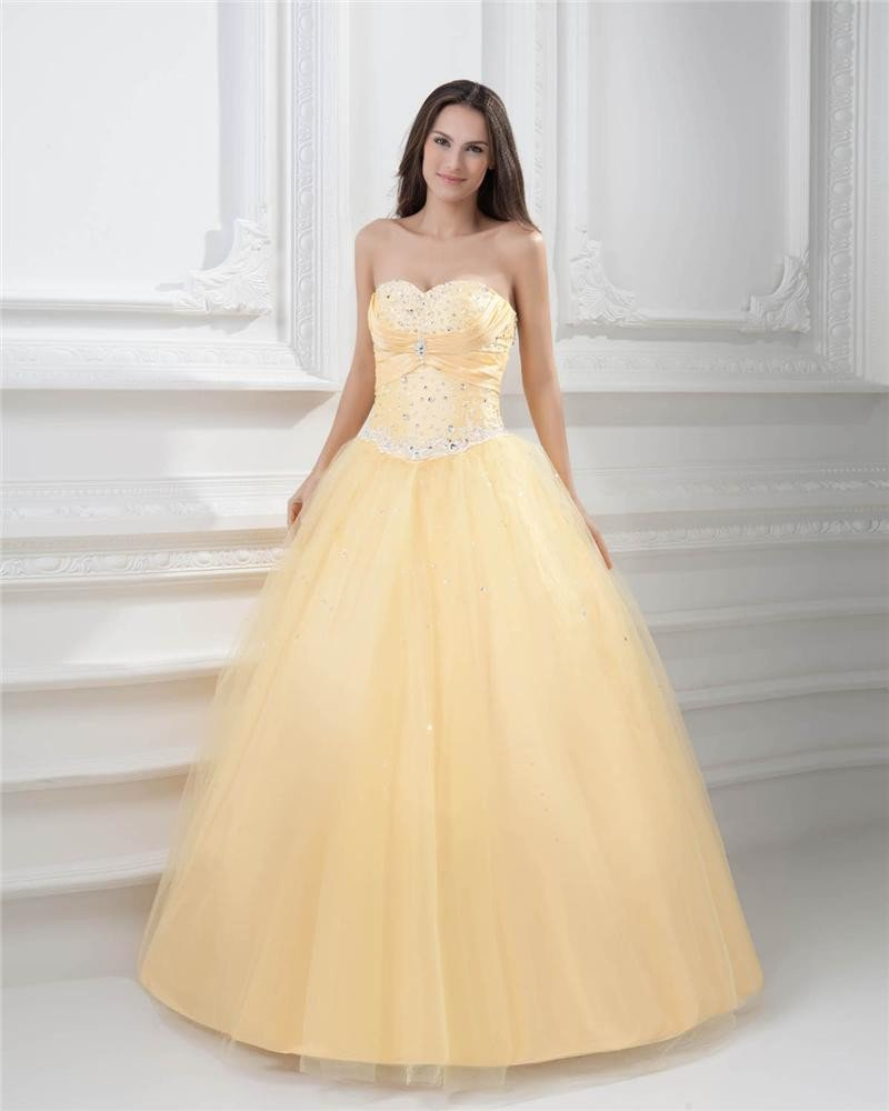 Ball Gown Sweetheart Beading Pleated Satin Floor Length Quinceanera Prom Dress