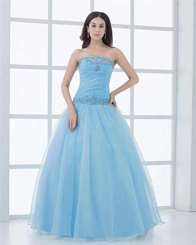 Ball Gown Organza Strapless Beading Ruffle Manual Flower Pattern Floor Length Quinceanera Prom Dress