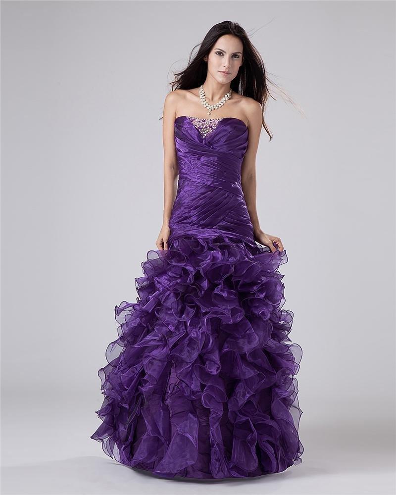 Taffeta Beads Applique Ruffles Sweetheart Floor Length Prom Dress