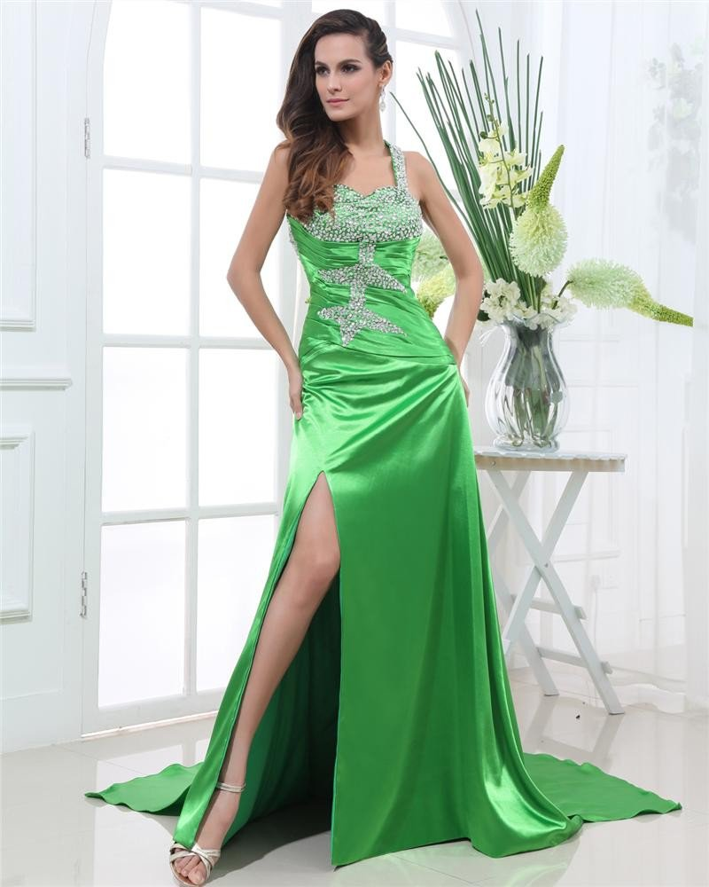 Shouder Straps Sleeveless Backless Floor Length Beading Charmeuse Woman Prom Dress