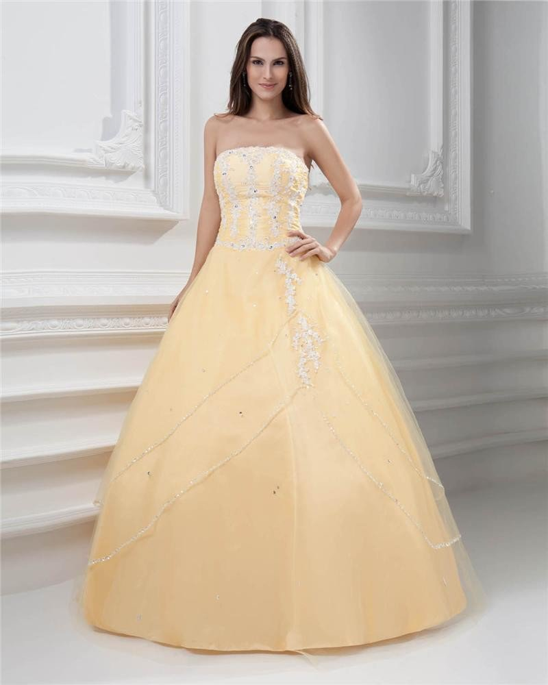 Ball Gown Strapless Beading Floor Length Floor Length Satin Quinceanera Prom Dress