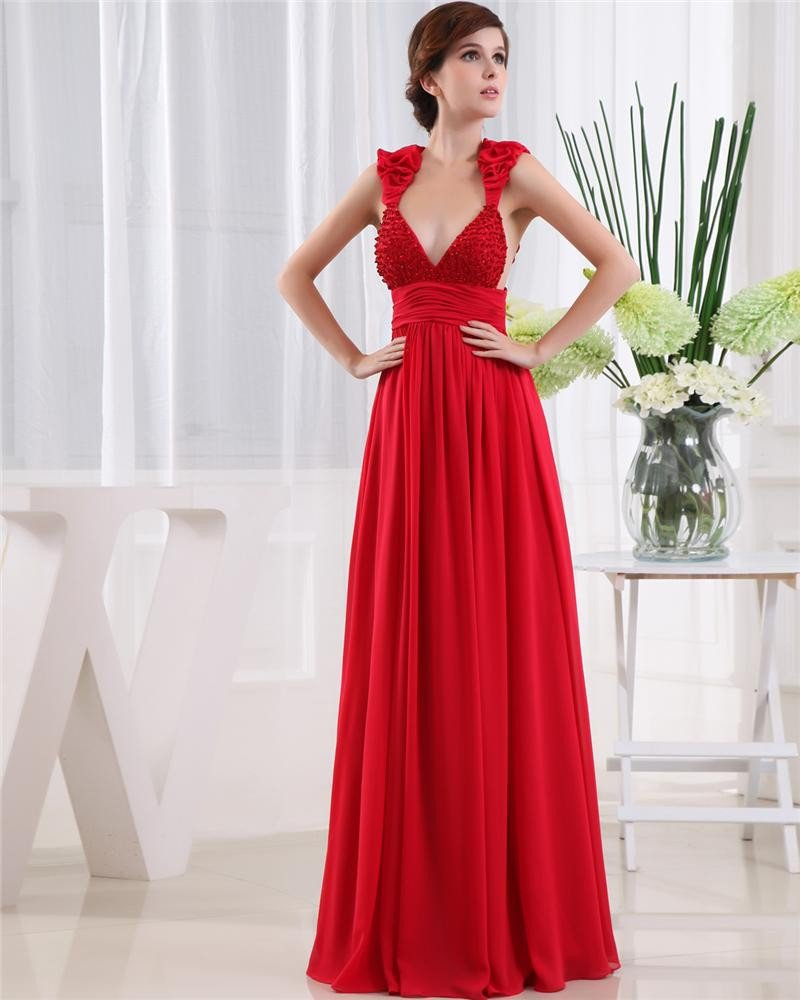 Shouder Straps Sleeveless Belt Floor Length Beading Ruffle Chiffon Woman Prom Dress