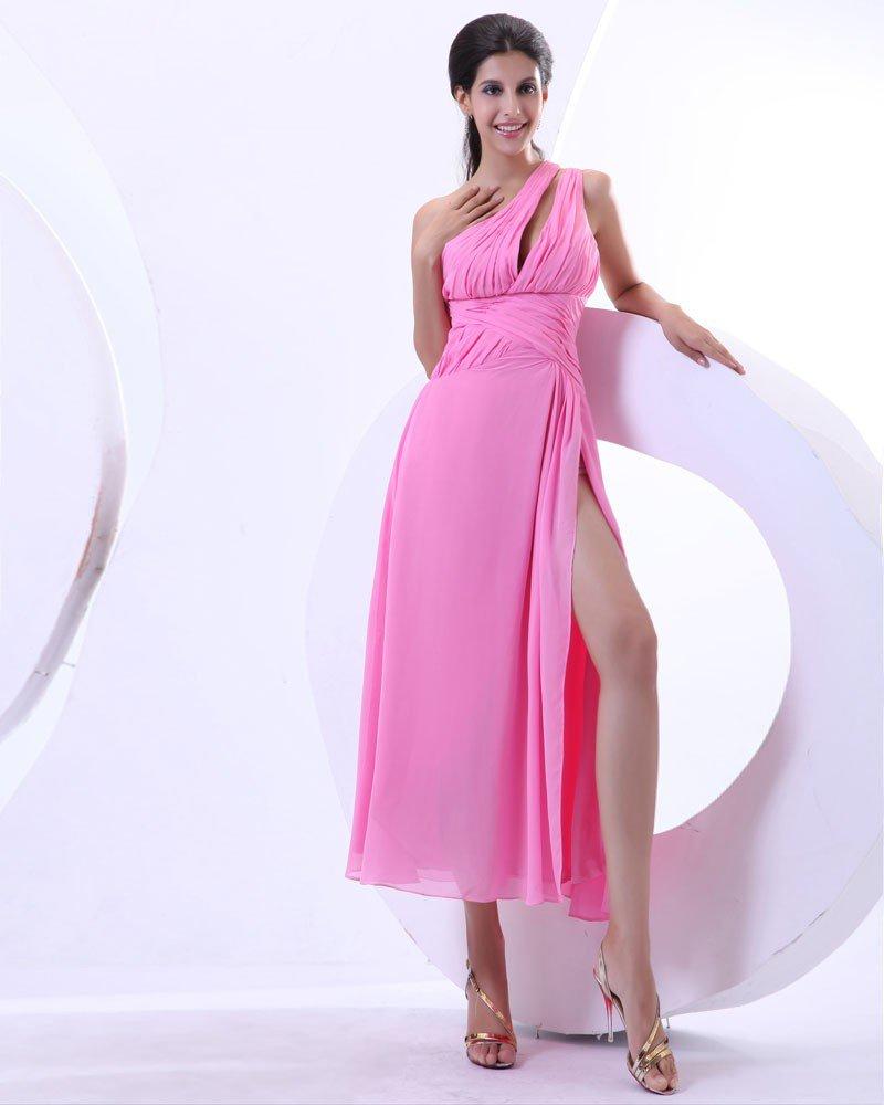 Ruffles Chiffon One Shoulder Ankle Length Prom Dress