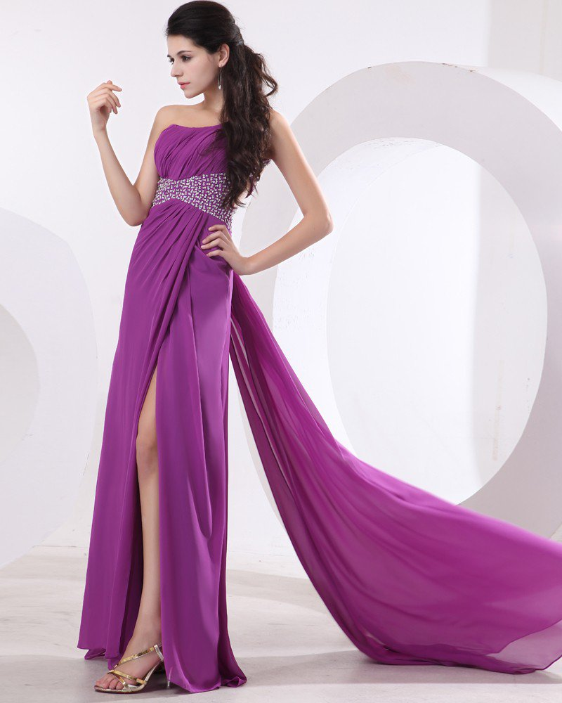 Chiffon Beading Backless One Shoulder Floor Length Prom Dresses