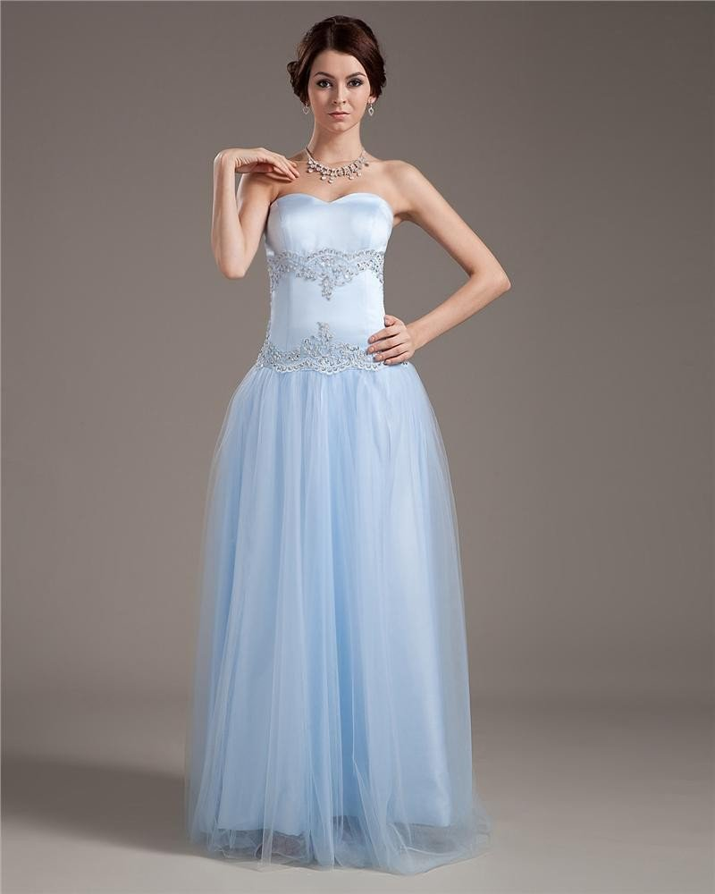 Satin Tulle Sweetheart Embroidery Beading Ruffle Floor Length Prom Dresses