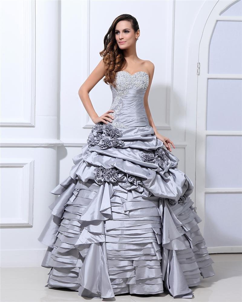 Ball Gown New Sleeveless Taffeta Flowers Embroidery Ruffles Applique Sweetheart Floor Length Quincea