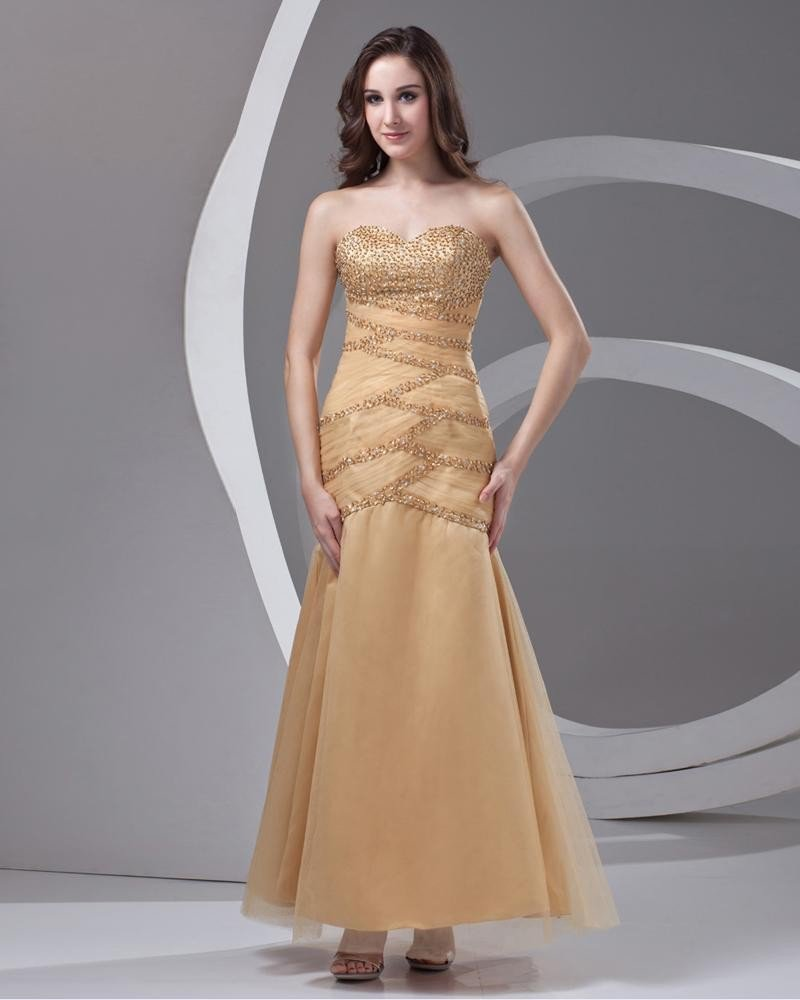 Sweetheart Beading Pleated Ankle Length Tulle Woman Prom Dress