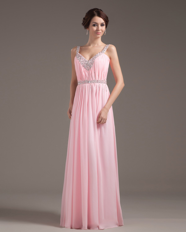 Chiffon Ruffle Beading V Neck Floor Length Prom Dress