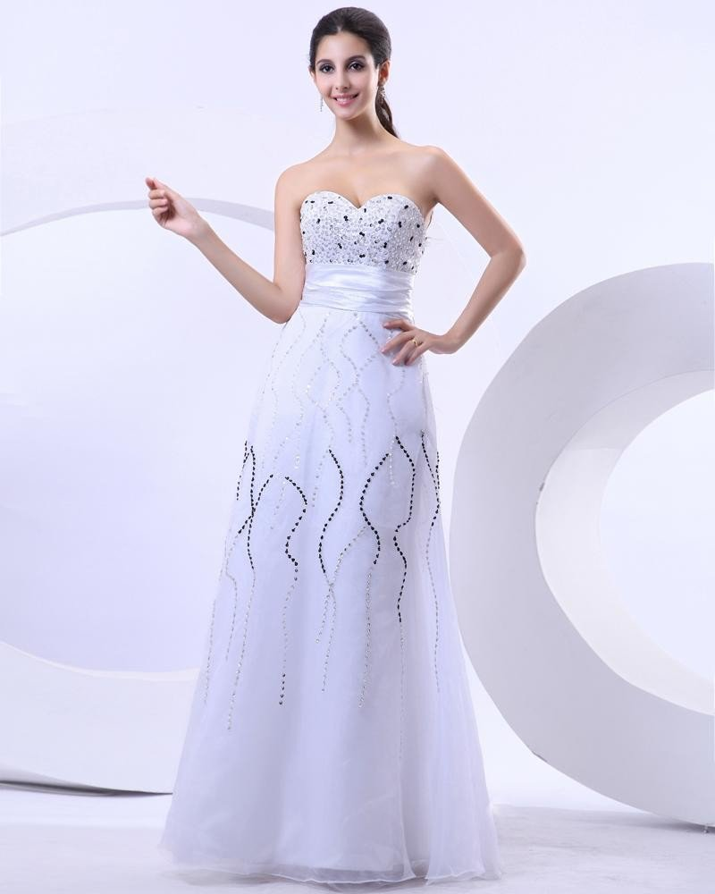 Satin Organza Sequins Beading Sweetheart Floor Length Quinceanera Prom Dress