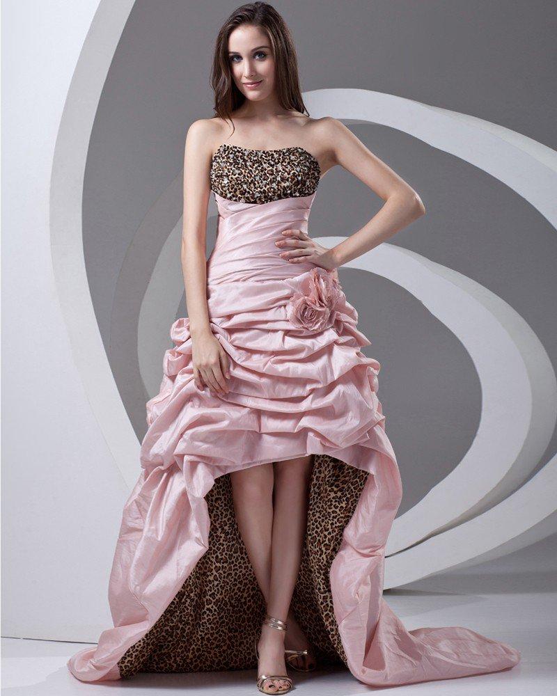Taffeta Ruffle Flower Floor Length Leopard Prom Dress