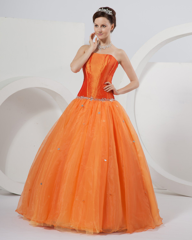 Strapless Ball Gown Beaded Organza Taffeta Designer Quinceanera Prom Dresses