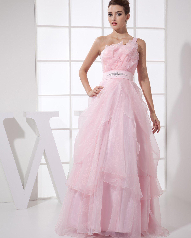 Strapless Beading Ruffle Sleeveless Zipper Floor Length Organza Silk Woman Prom Dress