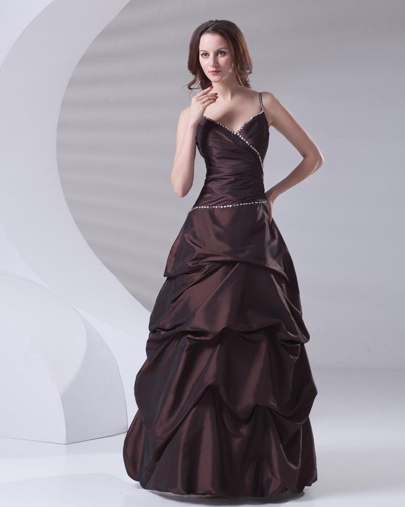 Ruffle Sequin Decoration Spaghetti Strap Floor Length Taffeta Prom Dress