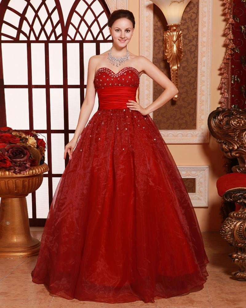 Ball Gown Princess Sweetheart Neck Floor Length Beading Ruffle Quinceanera Prom Dresses