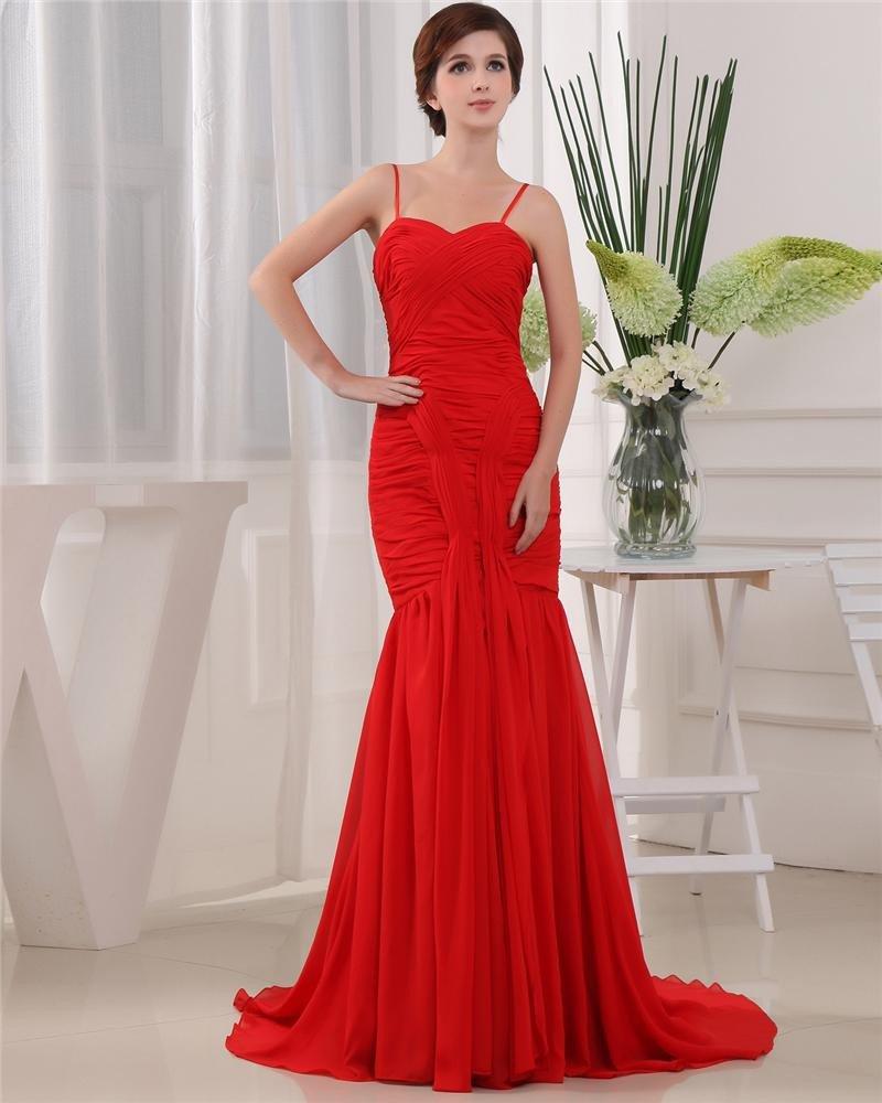 Spaghetti Straps Sleeveless Zipper Pleated Floor Length Ruffle Chiffon Woman Prom Dress