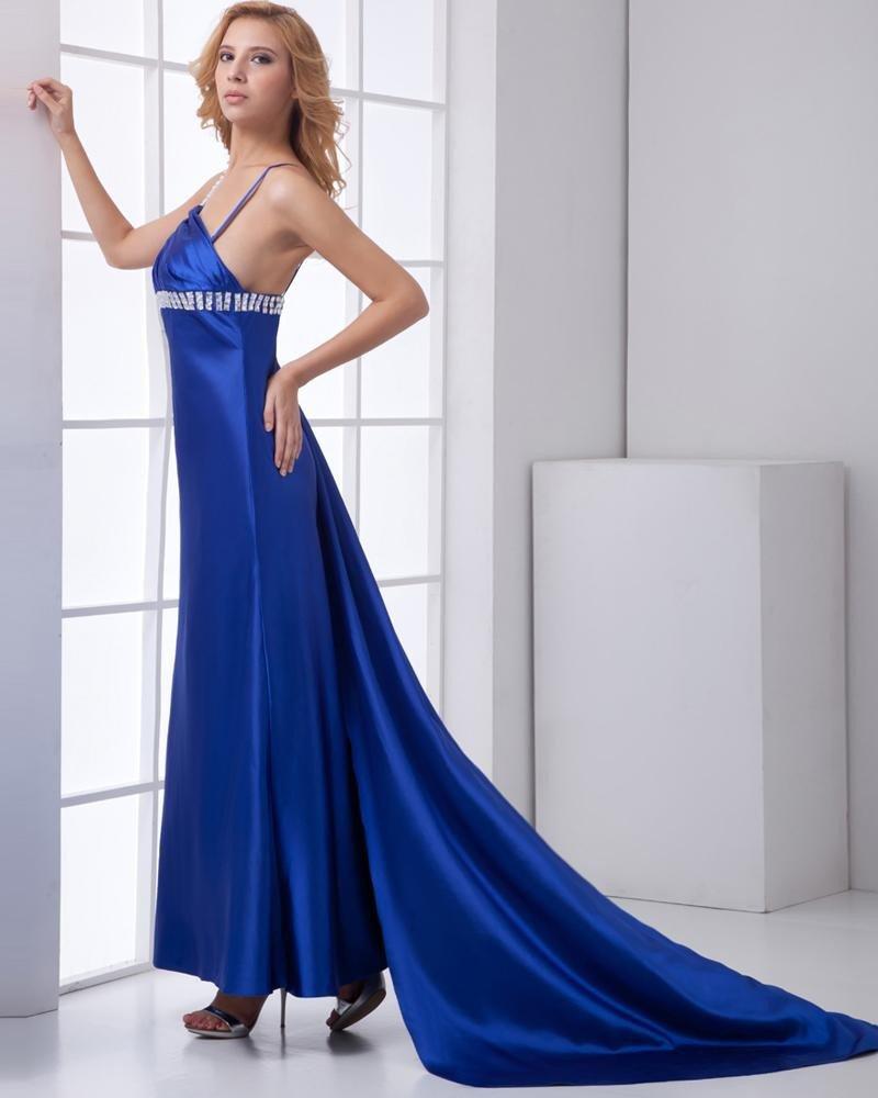 Fashion Satin Beaded Pleated One Shoulder Sleeveless Floor Length Prom Dress