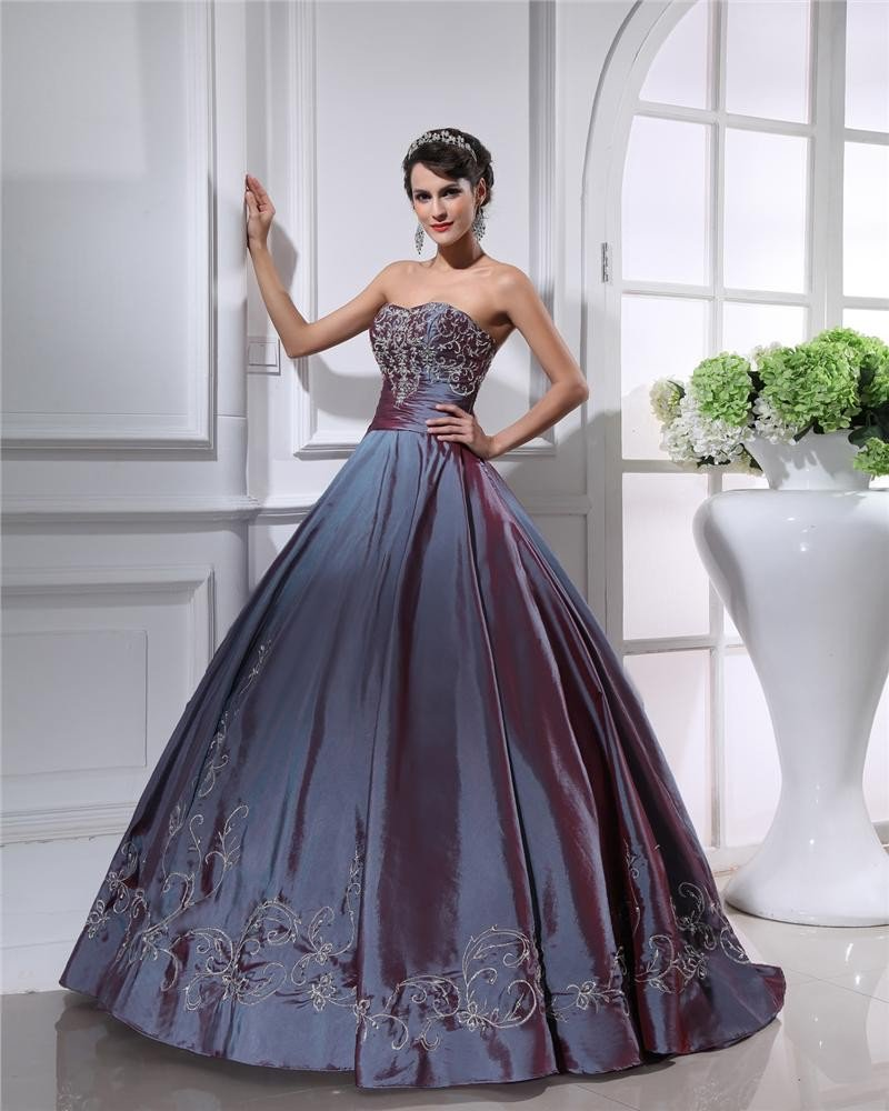 Ball Gown Strapless Beaded Embroidery Satin Cheap Prom Dresses