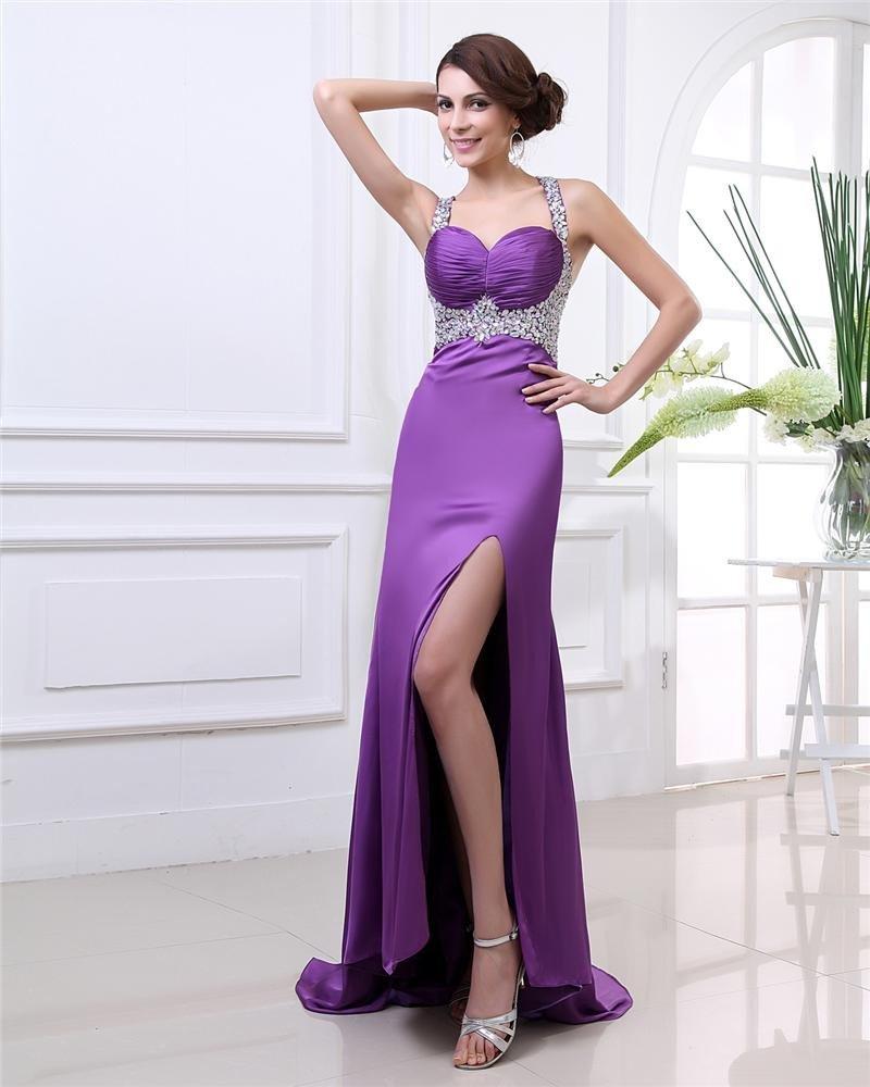 Sexy Beading Ruffle Shoulder Strap Floor Length Charmeuse Prom Dress