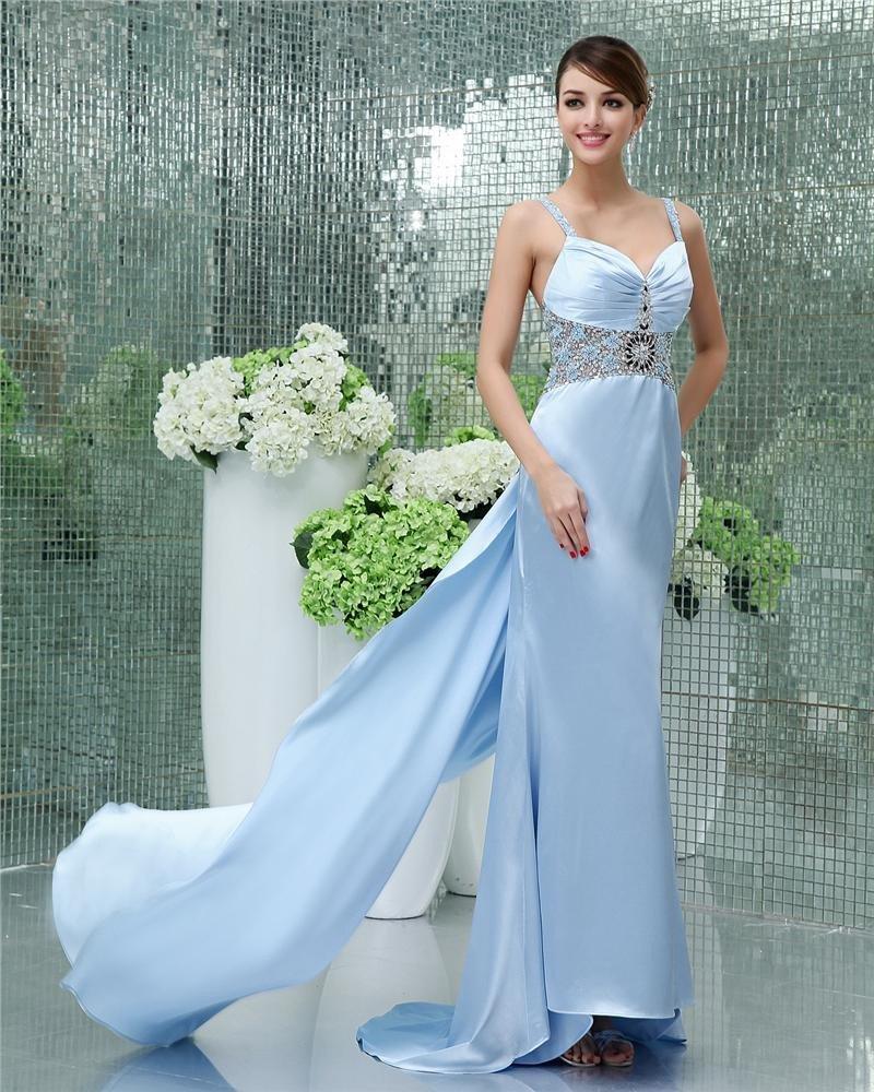 Satin Beaded V Neck Floor Length Prom Dresses