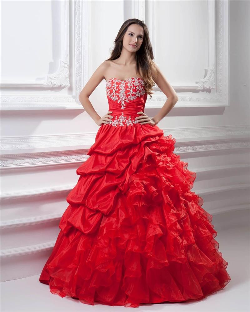 Ball Gown Taffeta Organza Sweetheart Applique Bead Embellishment Floor Length Quinceanera Prom Dress