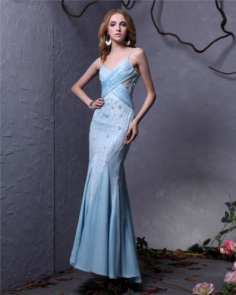 Elegant Chiffon Beaded Pleated Spaghetti Strap Ankle Length Women Prom Dress