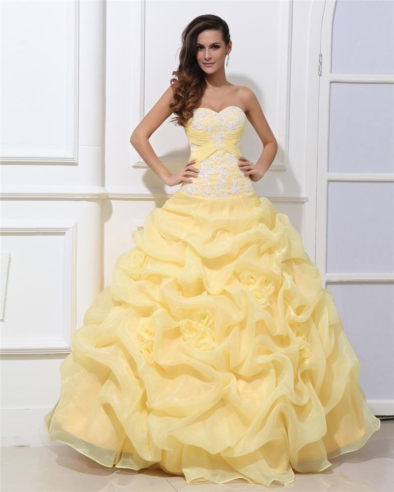 Ball Gown Taffeta Sleeveless Tulle Flowers Beading Ruffles Applique Sweetheart Floor Length Quincean