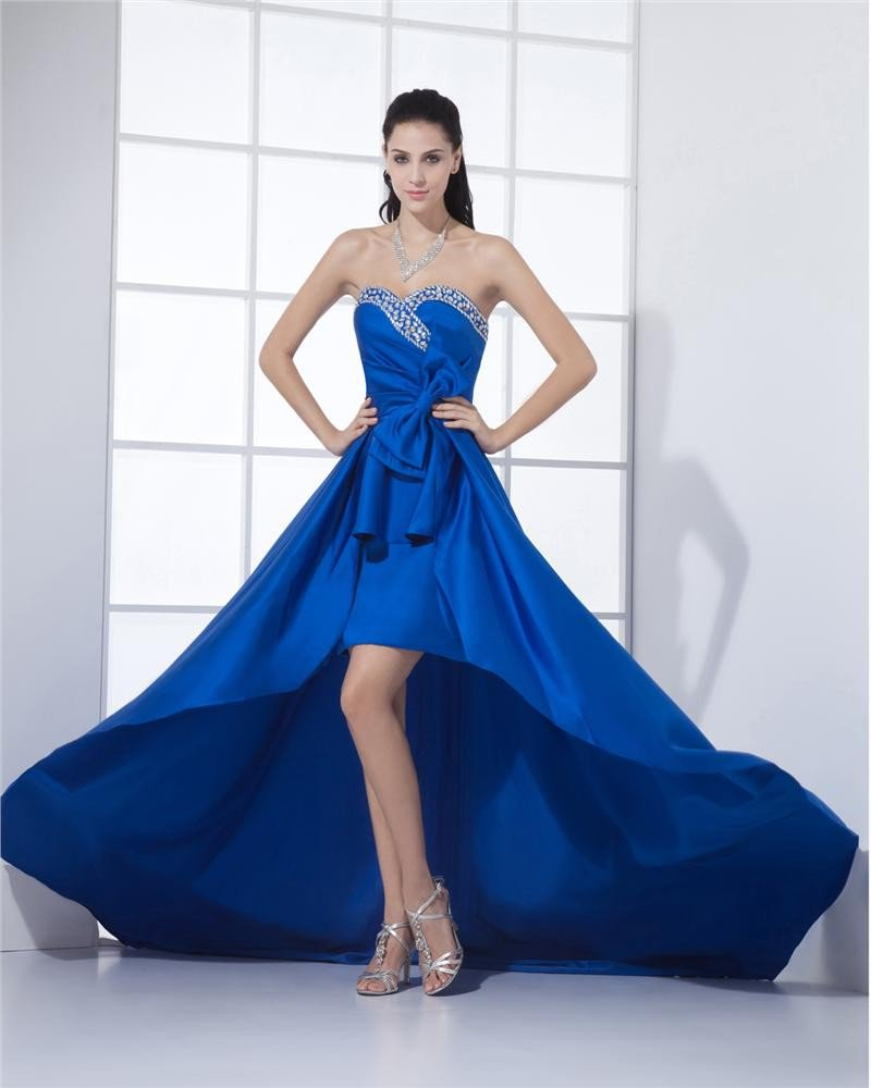 Sweetheart Neckline Floor Length Beading Pleated Satin A-Line Woman Prom Dresses