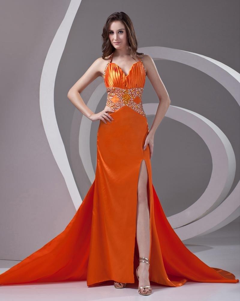 Halter Beading Pleated Floor Length Charmeuse Woman Prom Dress