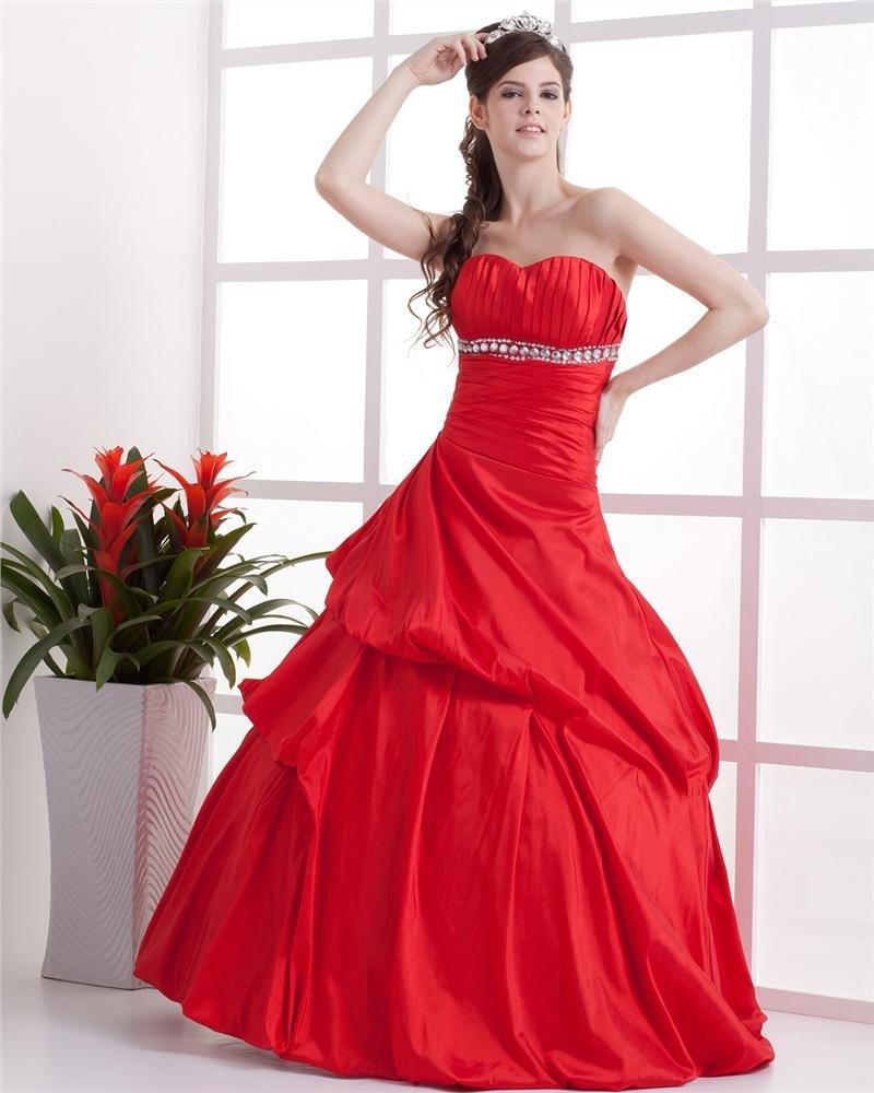 Ball Gown ALine Sweetheart Floor Length Beaded Taffeta Custom Prom Quinceanera Prom Dresses