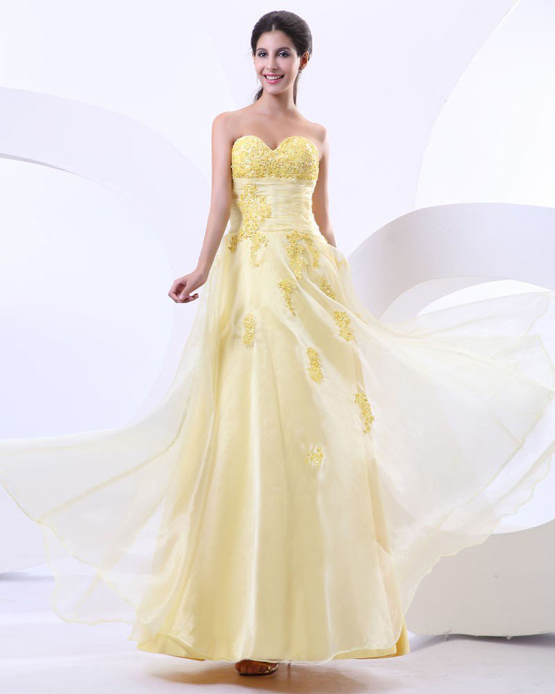 Wonderful Sweetheart Tulle Satin Applique Beading Floor Length Prom Dress