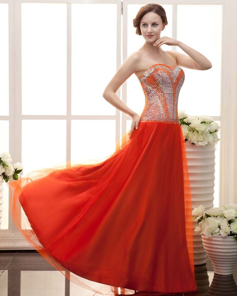 Stylish Ruffle Floor Length Sequin Beading Strapless Lace-up Sateen Chiffon Prom Dresses