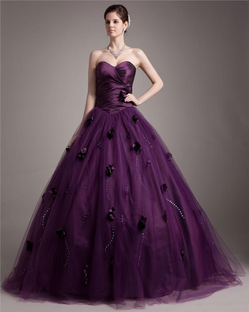 Ball Gown Taffeta Tulle Beading Hand Flower Sweetheart Floor Length Quinceanera Prom Dresses