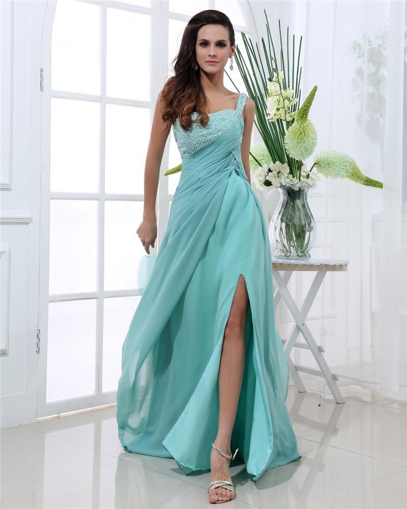 One Shoulder Neckline Sleeveless Floor Length Beading Pleated Chiffon Woman Prom Dresses