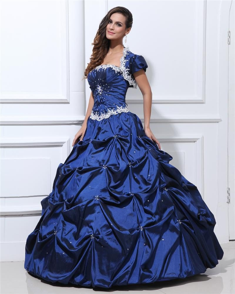 Ball Gown Strapless Taffeta Beading Applique Ruffle Floor Length Quinceanera Prom Dresses