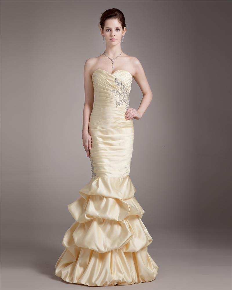 Elegant Sweetheart Floor Length Ruffle Beading Satin Prom Dress