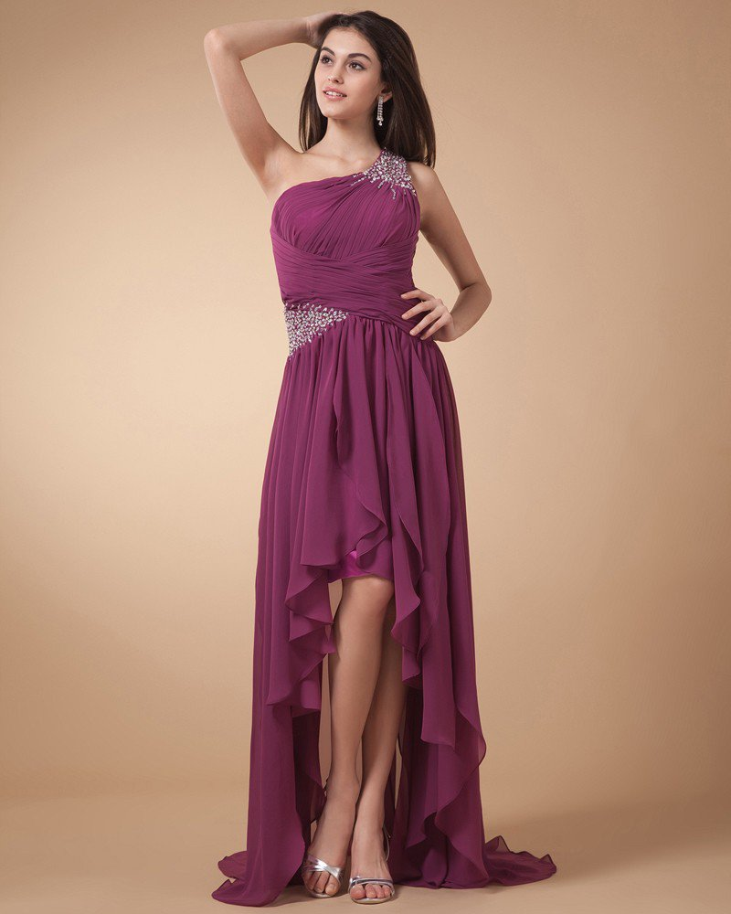 Popular Ruffle Beading Sweetheart Chiffon Asymmetrical Length Prom Dresses