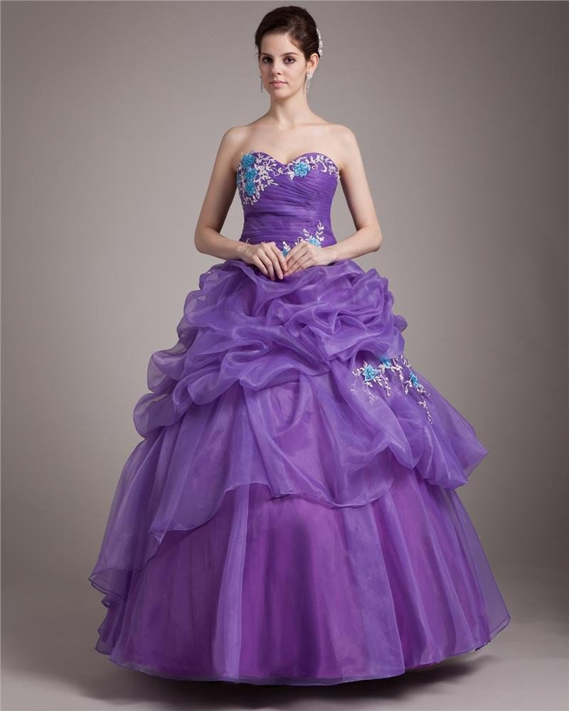 Ball Gown Sweetheart Floor Length Applique Satin Tulle Women Quinceanera Prom Dress