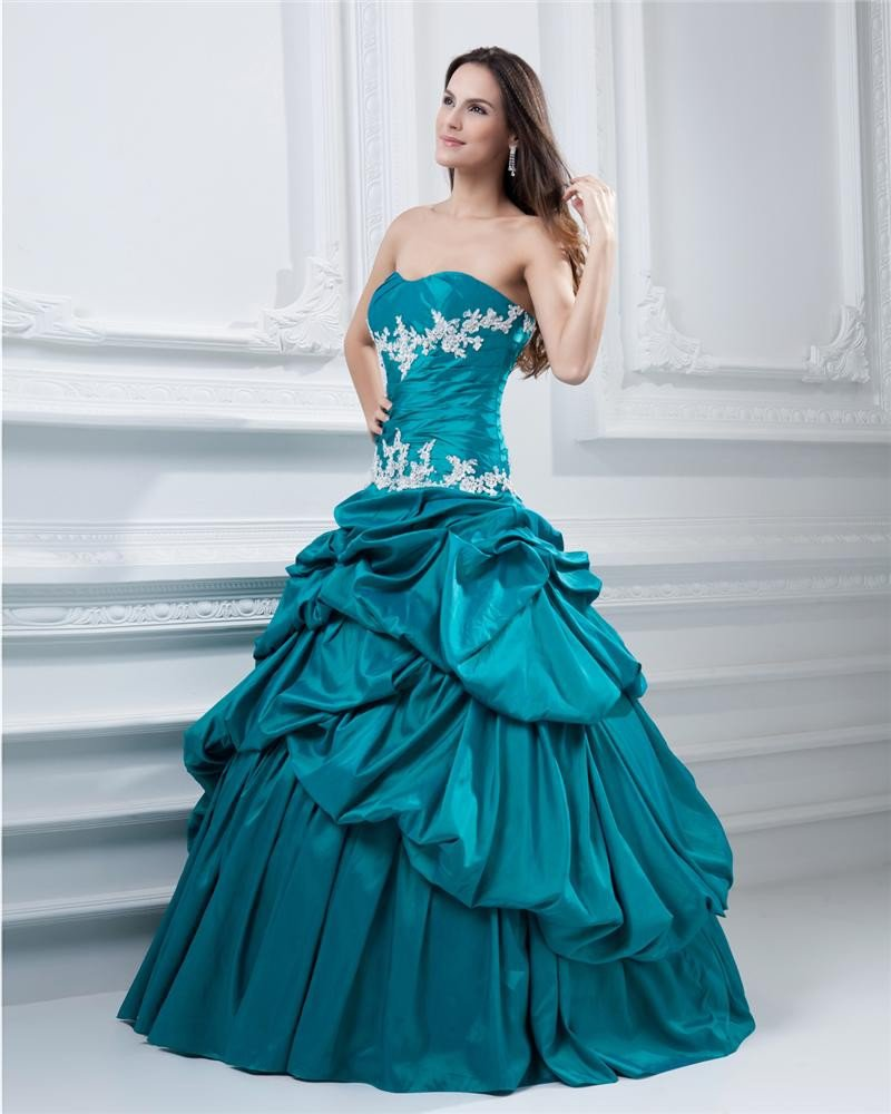 Ball Gown Sweetheart Ruffle Taffeta Beading Floor Length Quinceanera Prom Dress