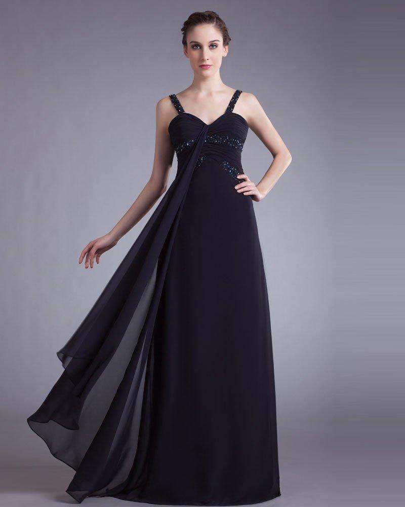 Chiffon Beading Spaghetti Straps Floor Length Prom Dress