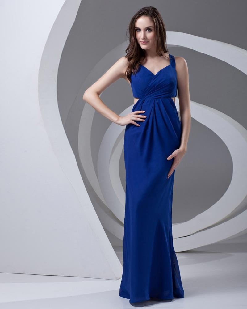 Shoulder Straps Floor Length Pleated Chiffon Woman Prom Dress