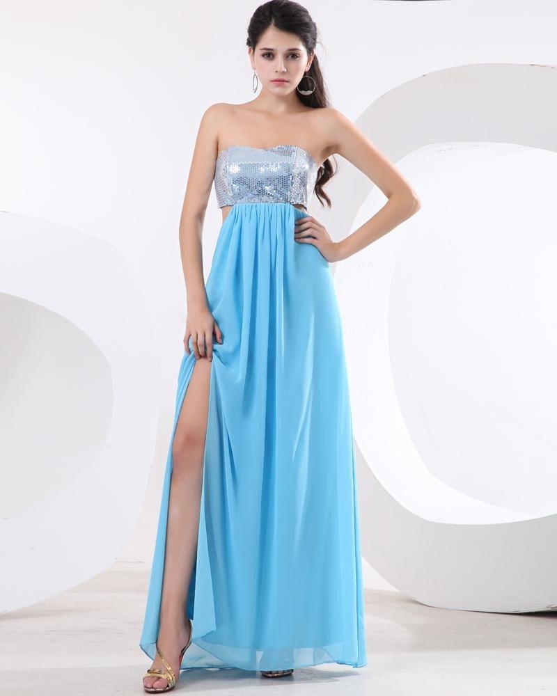 Chiffon Sequins Pleated Sweetheart Floor Length Prom Dress