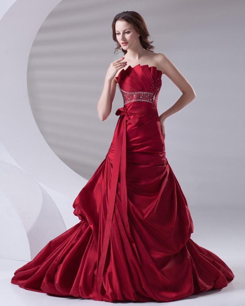 Beading Ruffle Strapless Floor Length Satin Prom Dress