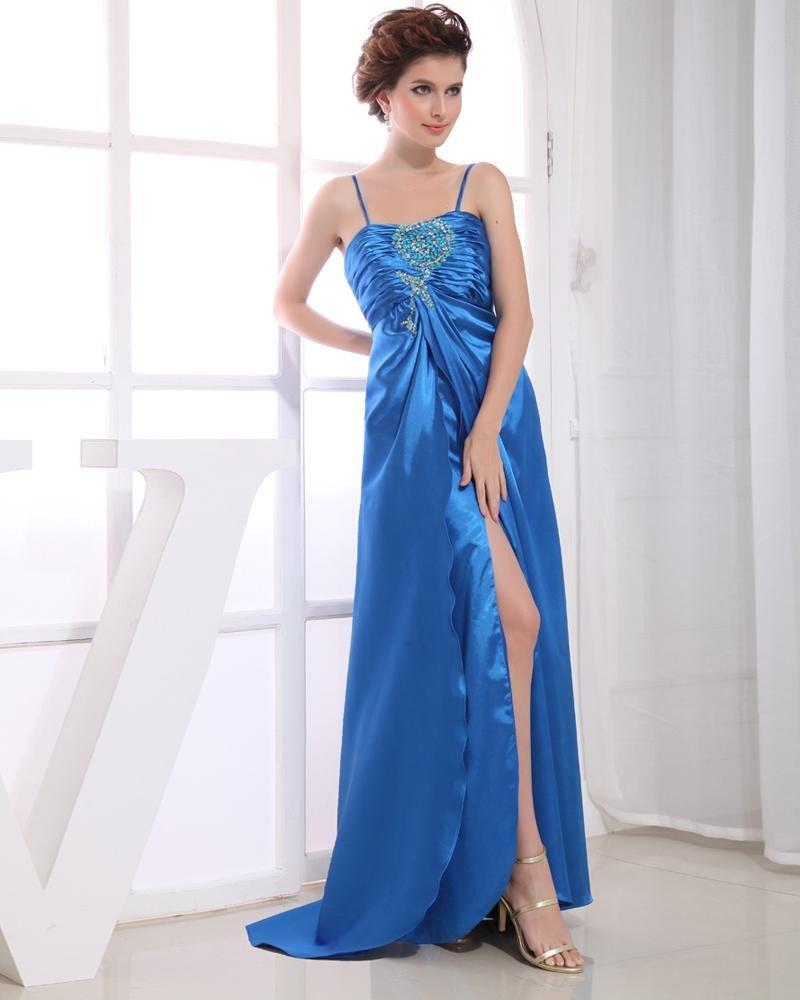 Charmeuse Spaghetti Straps Sequins Ruffle Sleeveless Backless Zipper Floor Length Pleated Slit Prom